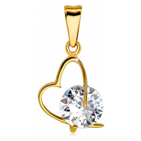 Přívěsek ze žlutého zlata 585 - kontura asymetrického srdce, velký třpytivý zirkon Šperky eshop