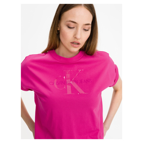 Tonal Monogram Crop top Calvin Klein Růžová