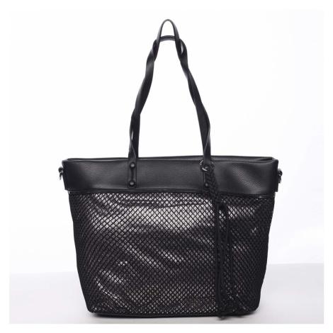 Jedinečná perforovaná dámská kabelka přes rameno černá - Maria C Karolay Maria C.