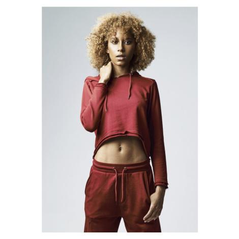 Ladies Cropped Terry Hoody - burgundy Urban Classics
