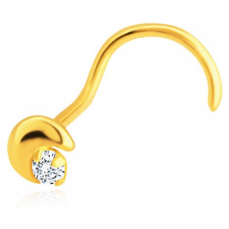 Piercing do nosu ze žlutého 14K zlata - zahnutý, srpek měsíce, zirkon Šperky eshop