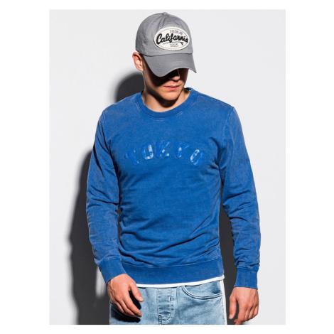 Ombre Clothing Modrá mikina bez kapuce s potiskem TOKYO B1024