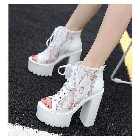 Společenské sandály krajkové boty na platformě s tkaničkami