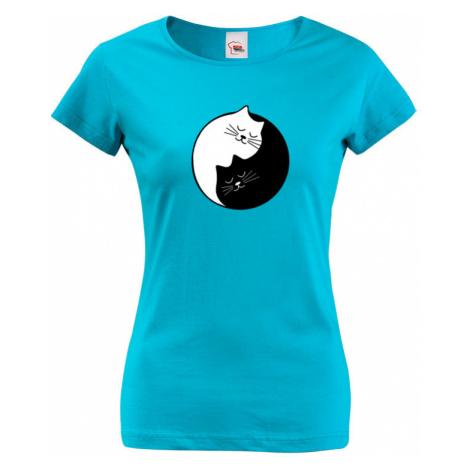 Dámské tričko s potiskem kočičí Jing Jang - stylové triko s kočkami BezvaTriko