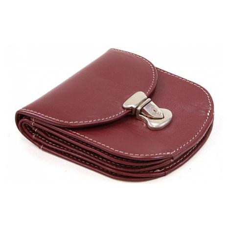 Vínová dámská malá kožená prošívaná peněženka se zámečkem Clariens Arwel