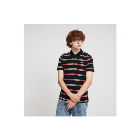 LACOSTE Striped Lightweight Cotton Polo Shirt černé