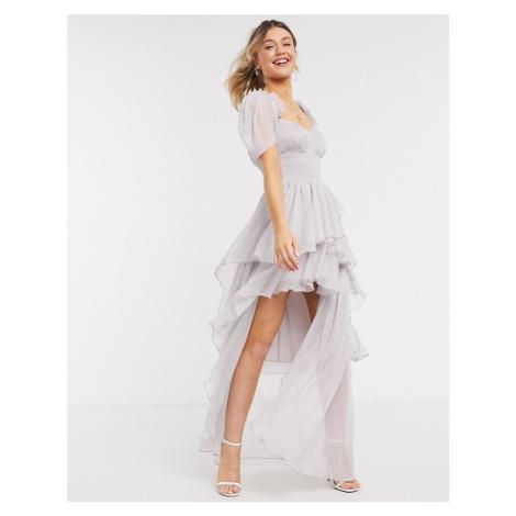 ASOS DESIGN shirred waist high low hem maxi dress with puff sleeve-Multi