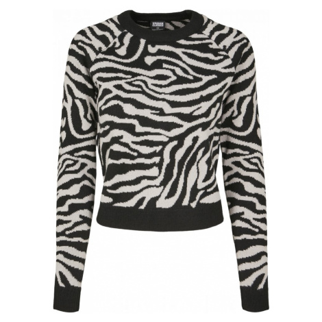 Ladies Short Tiger Sweater - black/grey Urban Classics