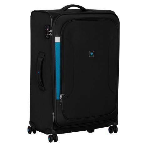 Černý textilní kufr s modrými detaily Roncato