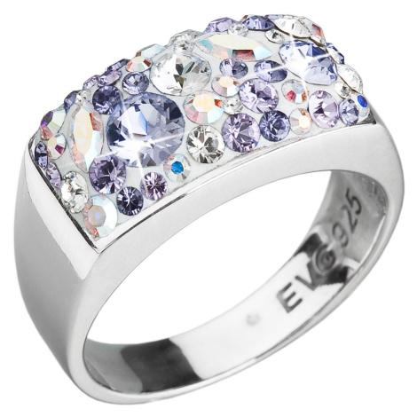 Evolution Group Stříbrný prsten s krystaly Swarovski fialový 35014.3