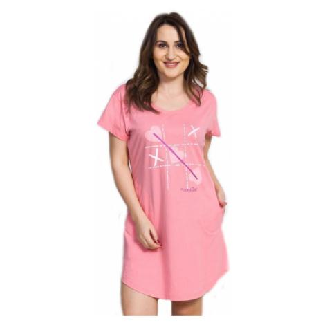 Dámské domácí šaty s krátkým rukávem Vienetta Secret Sylva | lososová