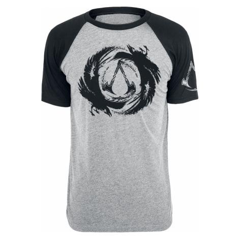 Assassin's Creed Valhalla - Logo & Raven Tričko smíšená šedo-černá