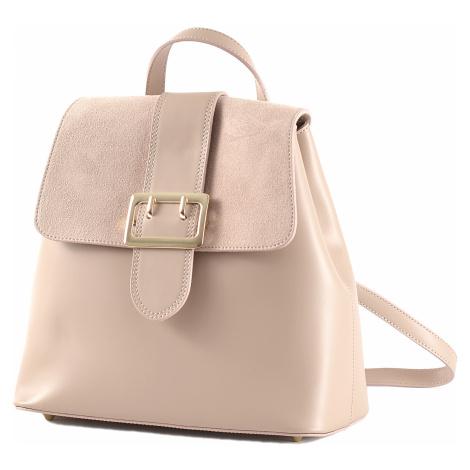Elegantní dámský kožený batoh s klopnou pudrově růžový, 29 x 14 x 28 (777-27CC)