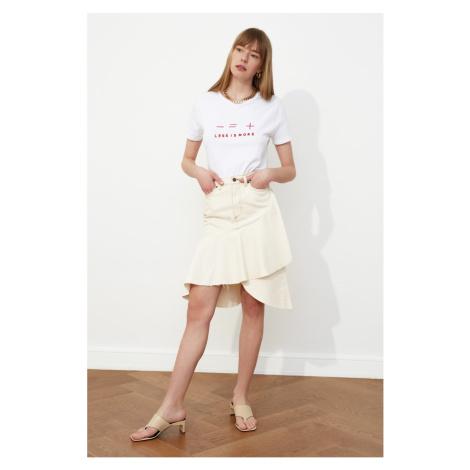 Trendyol Ekru Asymmetric Closure Denim Skirt