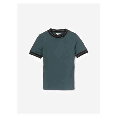GATE Žebrované tričko se zdobeným límečkem