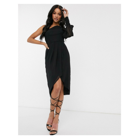 TFNC chiffon one shoulder midi dress-Black