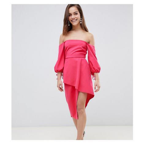 ASOS PETITE Bardot Midi Dress With Tiered Wrap Skirt-Pink