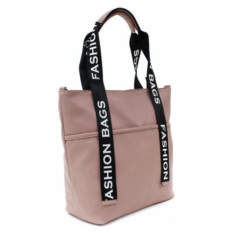 Světle růžová velká dámská zipová taška Adelia Tony