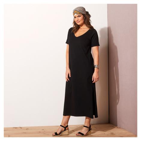 Blancheporte Jednobarevné dlouhé šaty černá