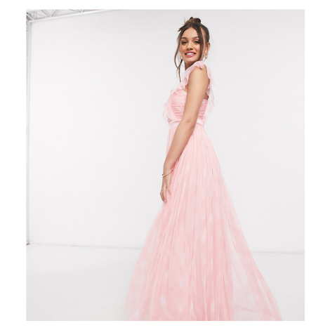 Anaya With Love Petite pleat front printed maxi dress in pink print