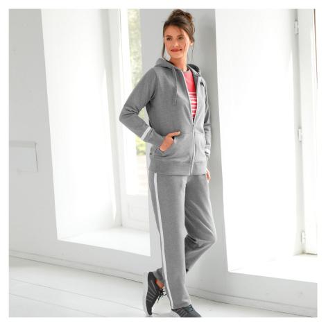 Blancheporte Mikina na zip šedý melír/bílá