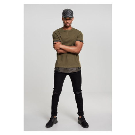 Long Shaped Camo Inset Tee - olive/dark camo Urban Classics