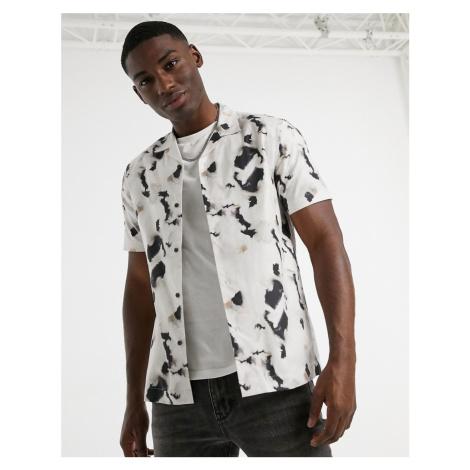 Topman revere collar ink print shirt in stone