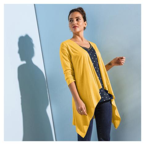 Blancheporte Splývavý svetr s cípy žlutá