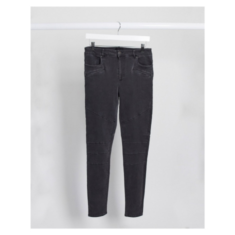 Vero Moda biker panelled skinny jeans in grey-Black