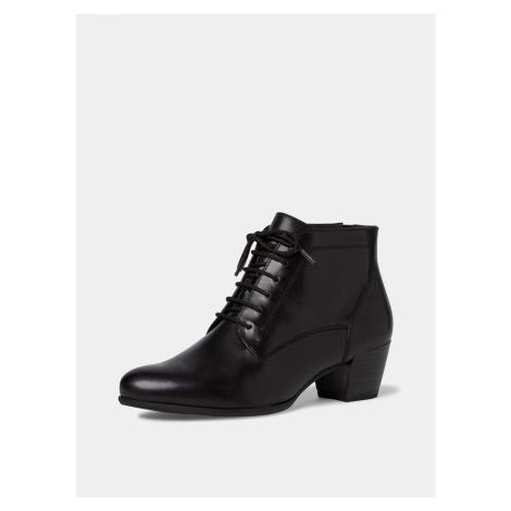 Tamaris černé kožené kotníkové boty