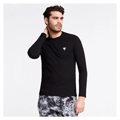 Guess pánské černé triko s dlouhým rukávem