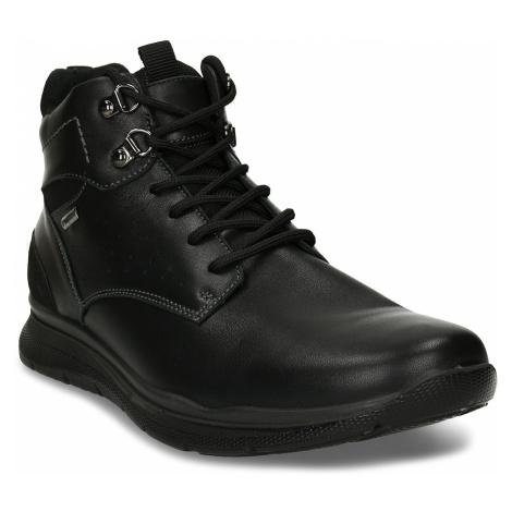 Černá pánská kožená kotníková obuv na zimu Baťa
