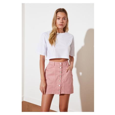 Trendyol Pink Front Button Mini Denim Skirt