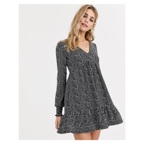 Miss Selfridge smock dress with frills in ditsy floral-Black