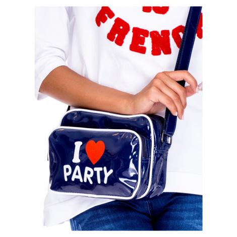 Lakovaná kabelka s tmavě modrým nápisem ONE SIZE FPrice