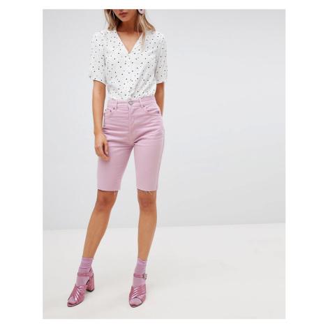 ASOS DESIGN denim longline short in lilac - Purple