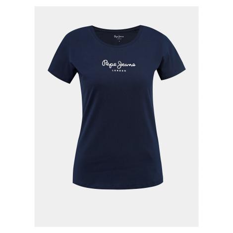 Tmavě modré dámské tričko s potiskem Pepe Jeans New Virginia - S