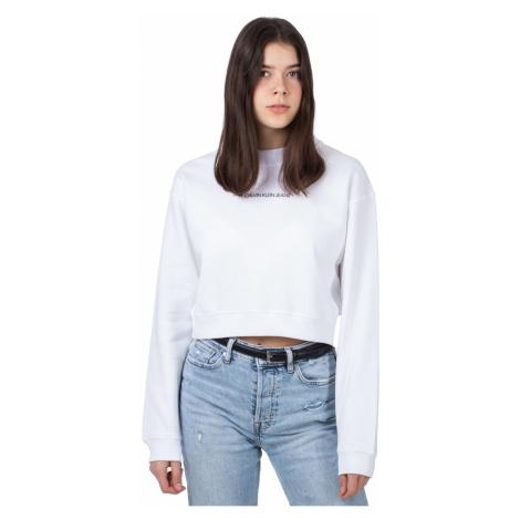 Calvin Klein Calvin Klein dámská bílá krátká mikina BACK MONOGRAM CROP BOYFRIEND