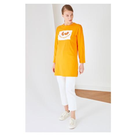 Trendyol Orange Printed Knitted Tunic T-shirt