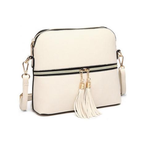 Lulu Bags (Anglie) Malá béžová crossbody kabelka se zlatým zipem MISS LULU Béžová