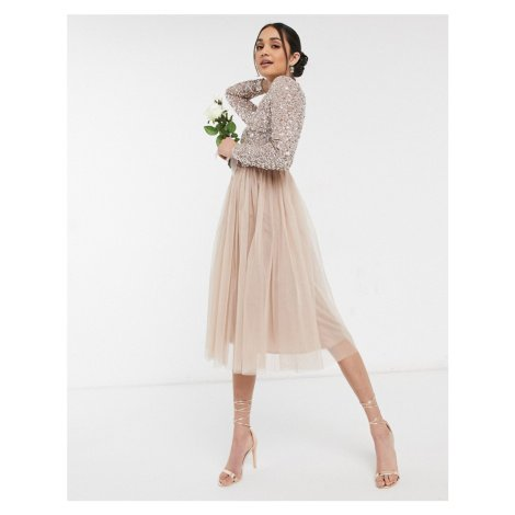 Maya Bridesmaid long sleeve midi tulle dress with tonal delicate sequin in taupe blush-Pink