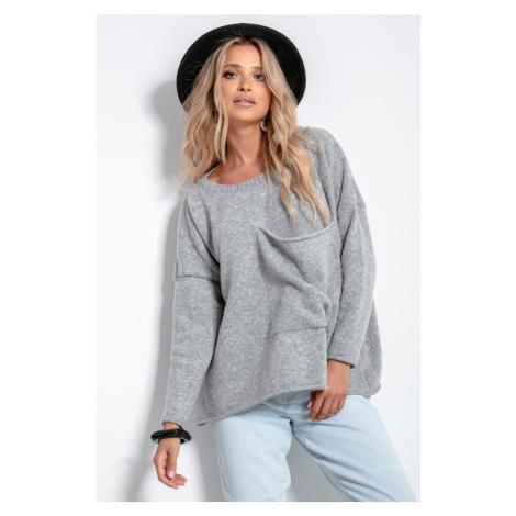 Dámský vlněný svetr s velkou kapsou F1056 Fobya