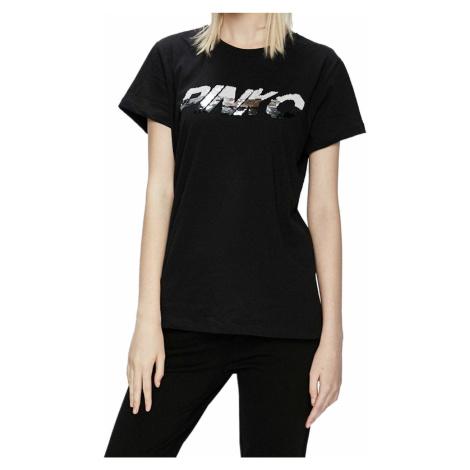 Černé tričko s flitrovým nápisem PINKO