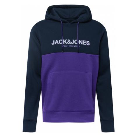 JACK & JONES Mikina 'Urban' námořnická modř / tmavě fialová / bílá