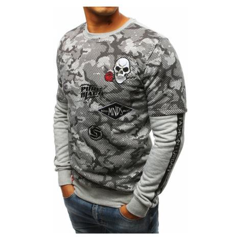 Gray men's sweatshirt with print BX3579