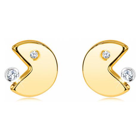 Náušnice ze 14K zlata - emotikon s pootevřenými ústy pojídající zirkon Šperky eshop