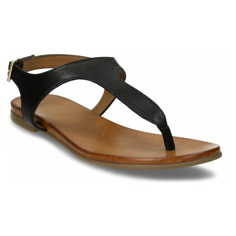 Černé dámské kožené sandály Baťa