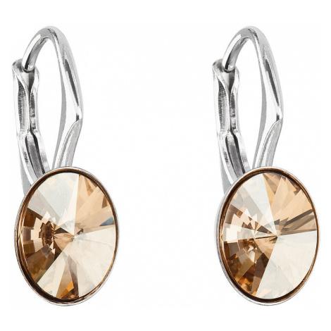 Stříbrné náušnice visací s krystaly Swarovski zlatý ovál 31276.5