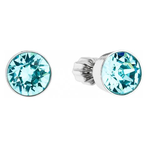 Stříbrné náušnice pecka se Swarovski krystaly modré kulaté 31113.3 light turquoise