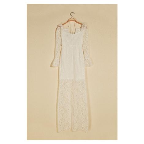 Trendyol Ekru Drape Detailed Lace Evening Dress